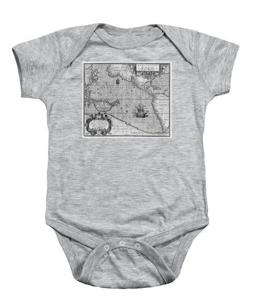 Old World Map Print From 1589 - Black And White Baby Onesie