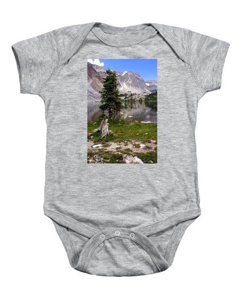 On The Snowy Mountain Loop Baby Onesie