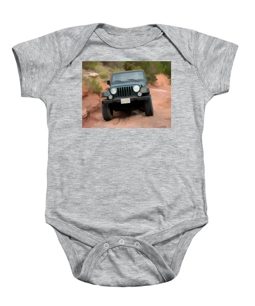 Only Jeeps Here Baby Onesie