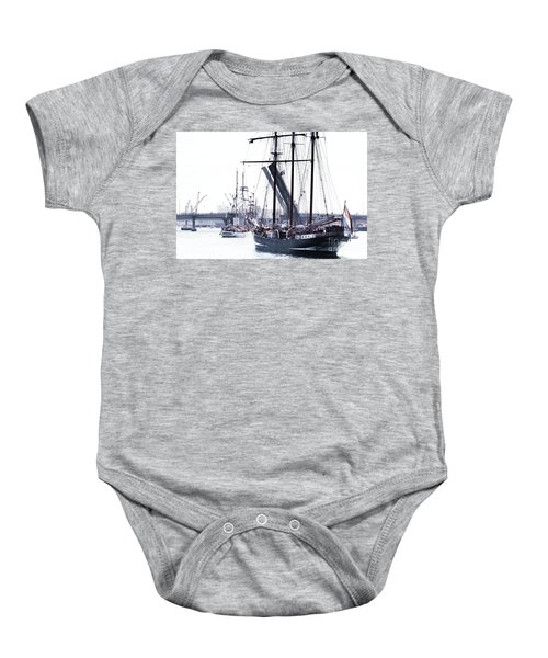Baby Onesie featuring the photograph Oosterschelde Leaving Port by Stephen Mitchell