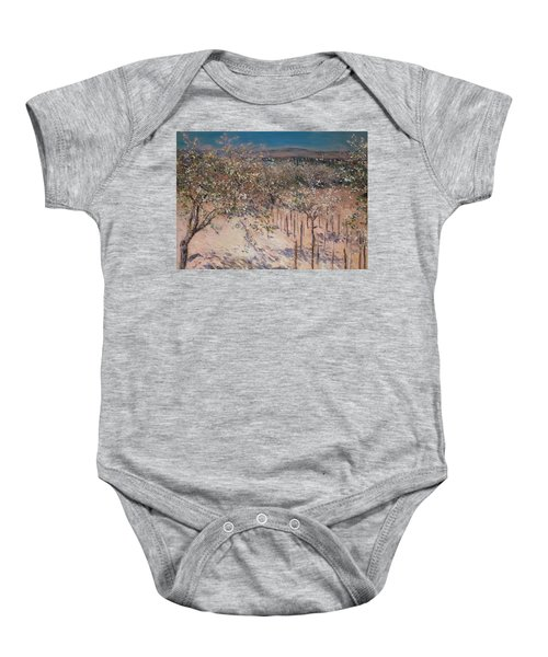 Orchard With Flowering Apple Trees Baby Onesie