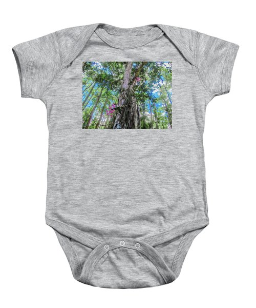 Orchids In A Tree Baby Onesie