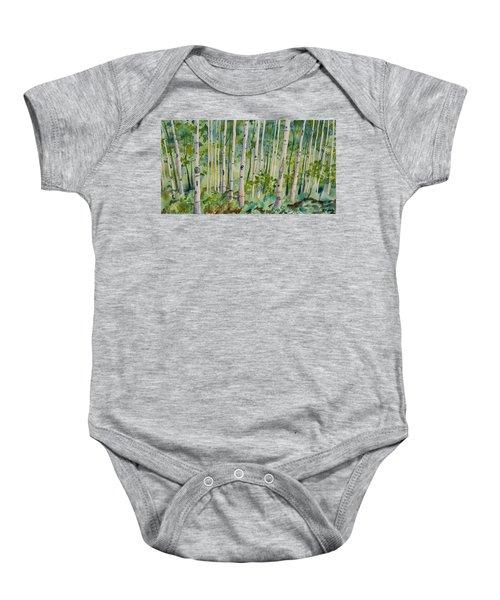 Original Watercolor - Summer Aspen Forest Baby Onesie