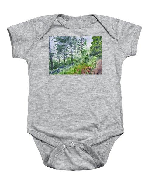 Original Watercolor - Summer Pine Forest Baby Onesie