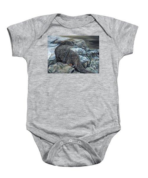 Otter On Rocks Baby Onesie