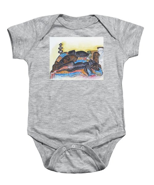 Our Bed Now Baby Onesie