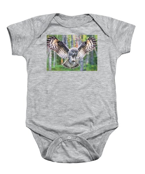 Baby Onesie featuring the digital art Owl In Flight by Charmaine Zoe