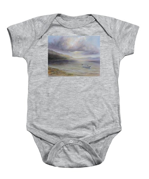 Beach By Sruce Run Lake In New Jersey At Sunrise With A Boat Baby Onesie