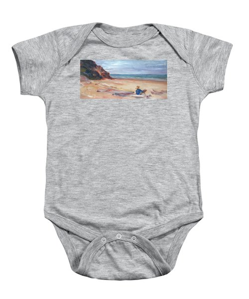 Painting The Coast - Scenic Landscape With Figure Baby Onesie
