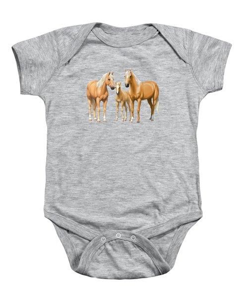 Palomino Horses In Winter Pasture Baby Onesie