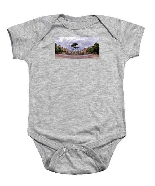 Panorama Of Texas Christian University Campus Commons And Frog Fountain - Fort Worth Texas Baby Onesie