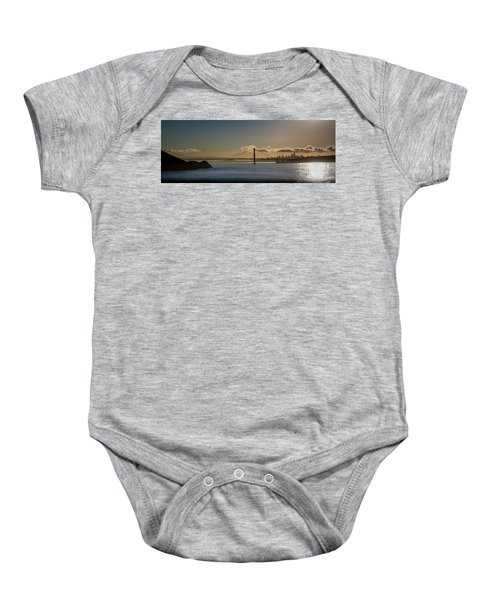 Panoramic View Of Downtown San Francisco Behind The Golden Gate  Baby Onesie