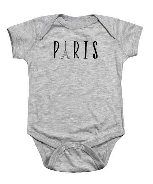 Paris Typography Panoramic Baby Onesie by Melanie Viola