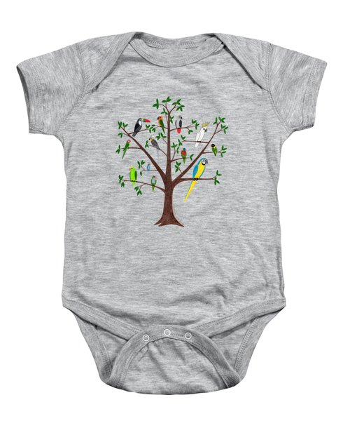Parrot Tree Baby Onesie by Rita Palmer