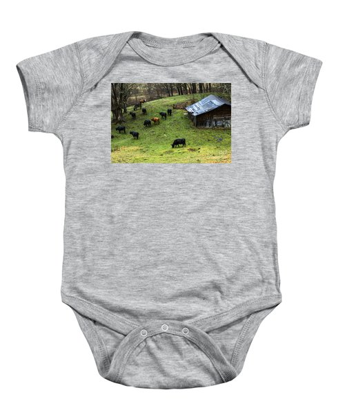 Pasture Field And Cattle Baby Onesie