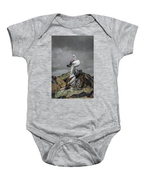 Pelicans On Rocks Baby Onesie