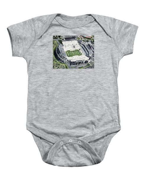 Penn State Beaver Stadium Whiteout Game University Psu Nittany Lions Joe Paterno Baby Onesie by Laura Row