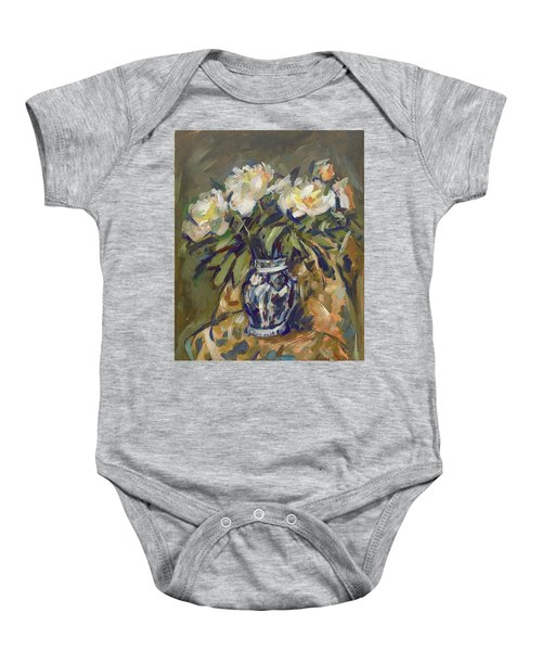 Peonies In Delft Blue Vase On Quilt Baby Onesie