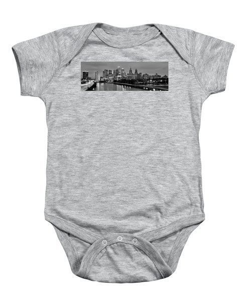 Philadelphia Philly Skyline At Dusk From Near South Bw Black And White Panorama Baby Onesie by Jon Holiday