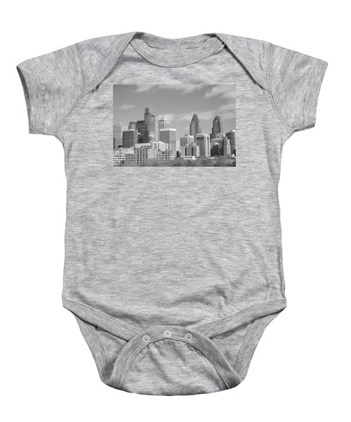 Baby Onesie featuring the photograph Philly Skyscrapers Black And White by Jennifer Ancker