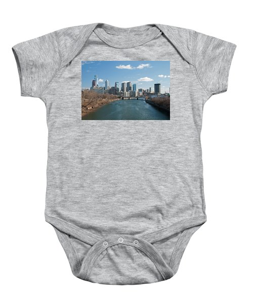 Baby Onesie featuring the photograph Philly Winter by Jennifer Ancker
