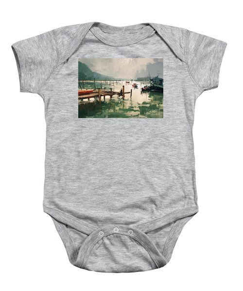 Baby Onesie featuring the painting Pier by Tithi Luadthong