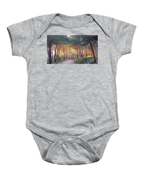 Pine Forest At Sunset Baby Onesie
