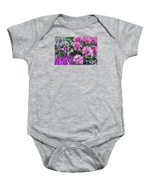 Pink, Purple And Lillies Baby Onesie