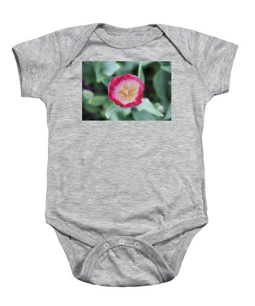 Pink Tulip Top View Baby Onesie