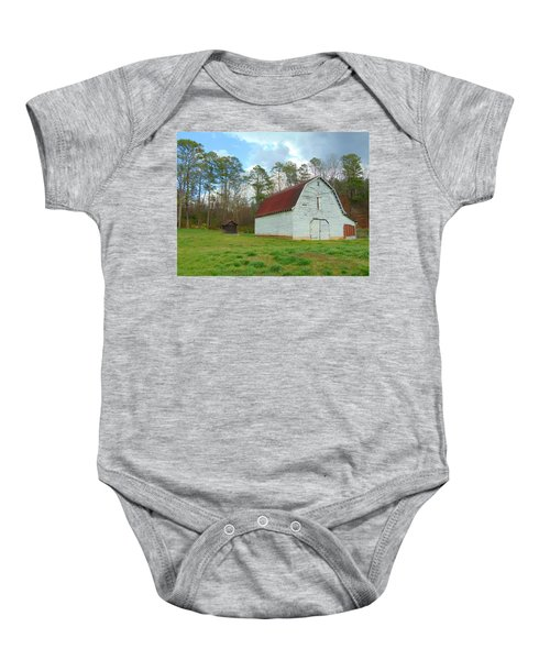 Pinson Farm Barn Baby Onesie
