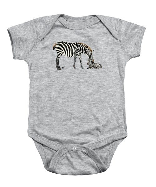 Plains Zebras Baby Onesie by Angeles M Pomata