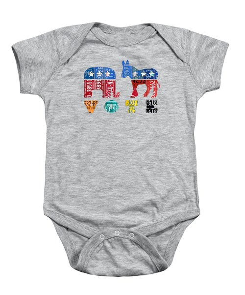 Political Party Election Vote Republican Vs Democrat Recycled Vintage Patriotic License Plate Art Baby Onesie by Design Turnpike