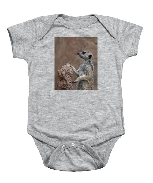 Pose Of The Meerkat Baby Onesie by Ernie Echols