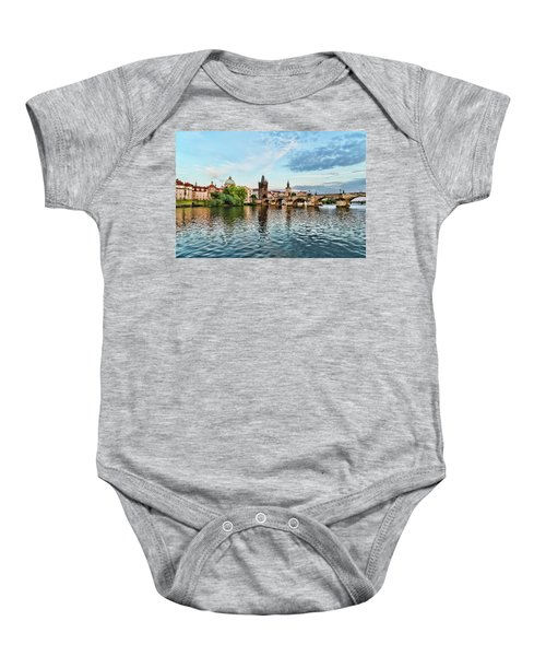 Prague From The River Baby Onesie