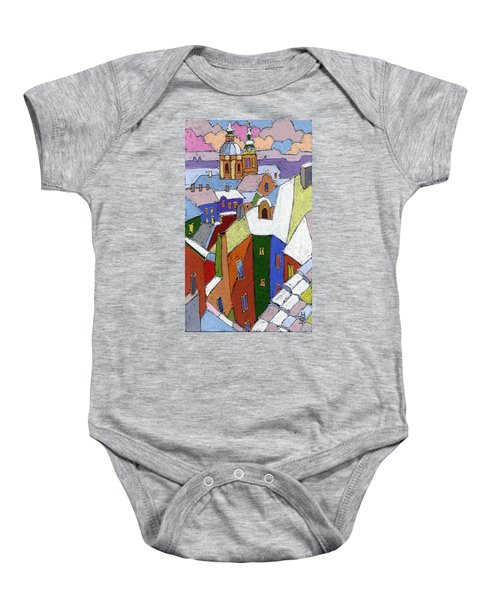 Prague Old Roofs Winter Baby Onesie