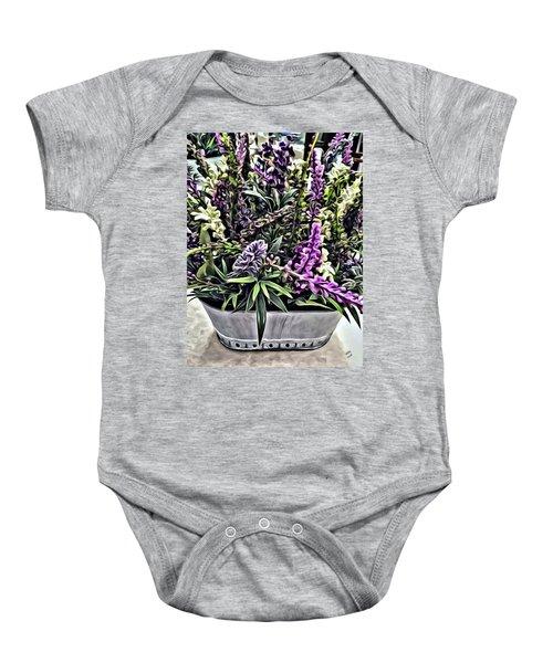 Purple Flowers In Bloom Baby Onesie