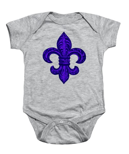 Purple French Fleur De Lys, Floral Swirls Baby Onesie by Tina Lavoie