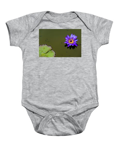 Purple Lily With Tiny Fish Baby Onesie