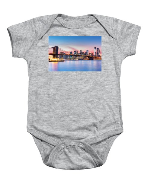 Purple Nyc Sunset Baby Onesie