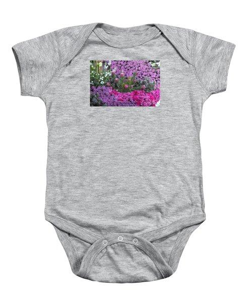 Purple Roses, Pinks And White Baby Onesie