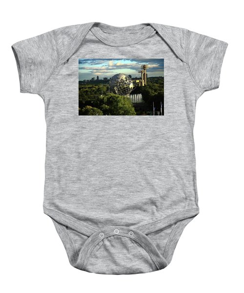 Baby Onesie featuring the photograph Queens New York City - Unisphere by Frank Romeo