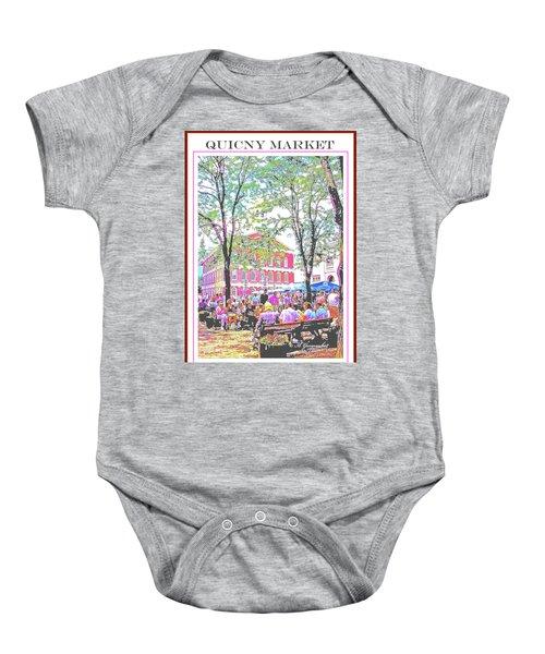 Quincy Market, Boston Massachusetts, Poster Image Baby Onesie