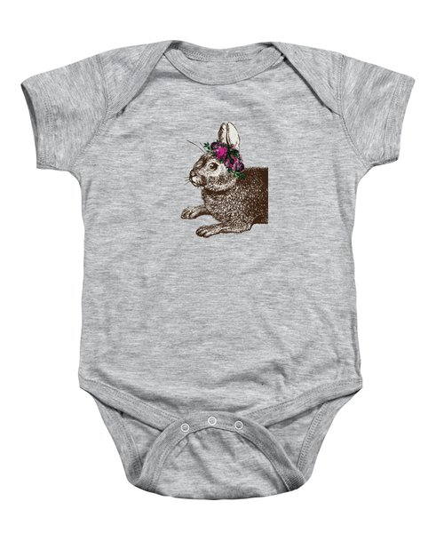 Rabbit And Roses Baby Onesie