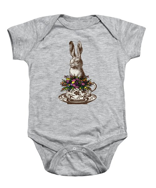 Rabbit In A Teacup Baby Onesie by Eclectic at HeART