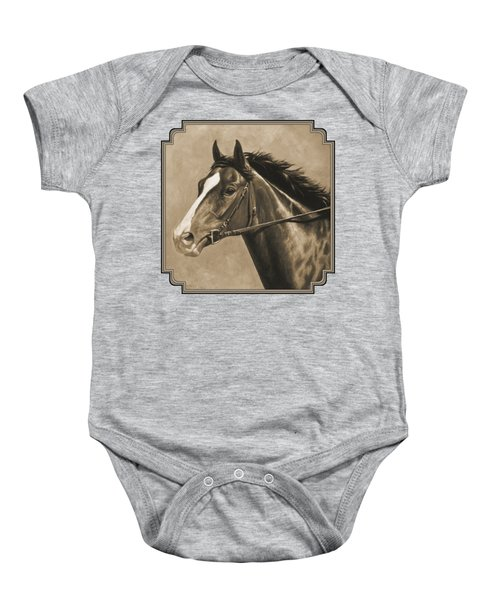Racehorse Painting In Sepia Baby Onesie by Crista Forest