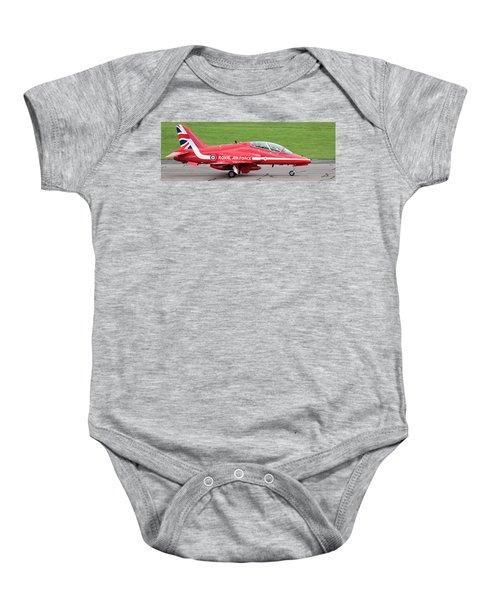 Raf Scampton 2017 - Red Arrows Xx322 Sitting On Runway Baby Onesie
