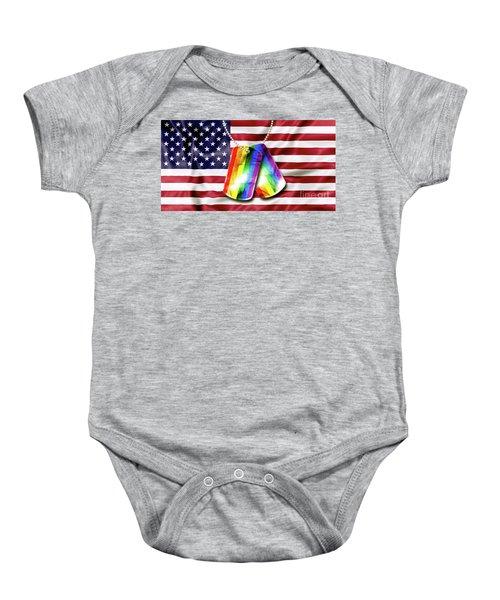 Rainbow Dog Tags Baby Onesie