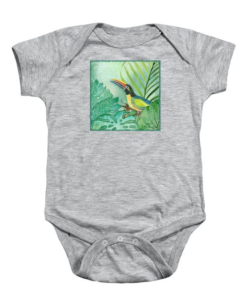 Rainforest Tropical - Jungle Toucan W Philodendron Elephant Ear And Palm Leaves 2 Baby Onesie