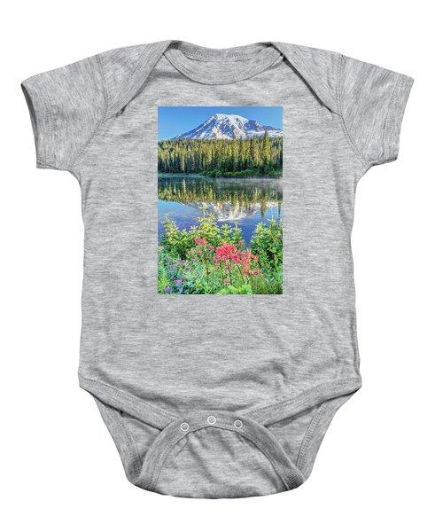 Rainier Wildflowers At Reflection Lake Baby Onesie