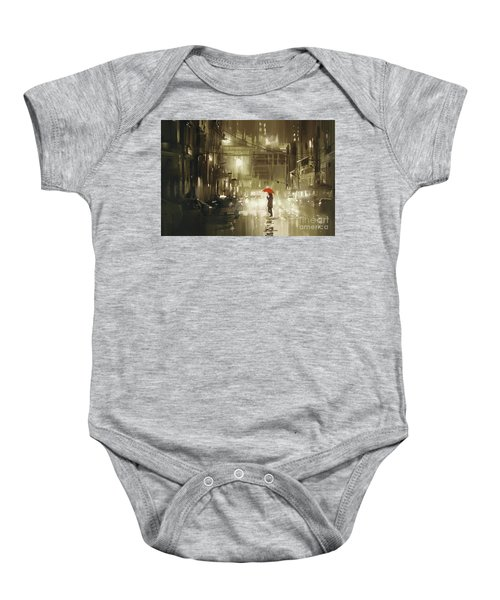 Baby Onesie featuring the painting Rainy Night by Tithi Luadthong